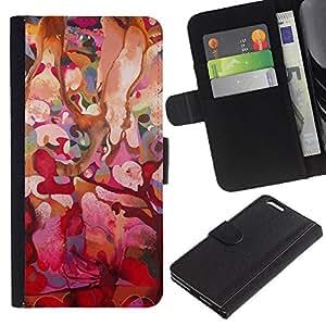 For Apple iPhone 6 Plus(5.5 inches),S-type® Pink Floral Tree Spring Easter - Dibujo PU billetera de cuero Funda Case Caso de la piel de la bolsa protectora
