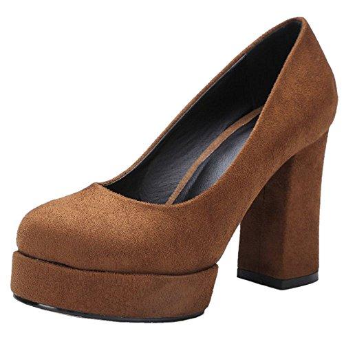 COOLCEPT Women Fashion Platform Block High Heels Pumps Court Shoes Brown 359