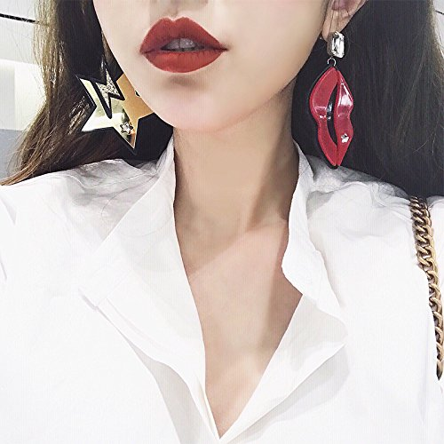 Japanese and fashion exaggeration custom personalized Tide brand nightclub star red mouth goddess elegant earrings large earrings earring