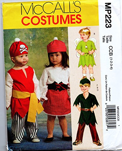 Toddler Pirate, Robin Hood, Angel Costume Sewing Pattern for Boy or Girl McCalls MP223 Size 1-2-3-4 (Hat Pattern Hood Robin)