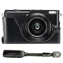 First2savvv XJPT-X70-D01S01 Black Leather Half Camera Case Bag Cover base for FUJIFILM Fuji X70 + camera strap