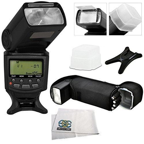 Professional e-ttl電源,ズーム& 180度回転DSLR auto-focus専用フラッシュ、Canon sl1 t5 t3 t6s t6i t5i t4i t3i t2i t1i 50d 60d 70d 7d XSI & XSデジタルカメラには、ハードフラッシュディフューザー、フラッシュスタンド、保護フラッシュポーチ&マイクロファイバークリーニングクロス   B004EBZDHQ