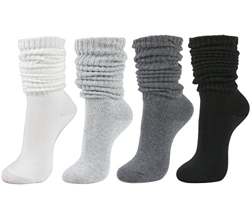 Women's Fall Winter Slouch Knit Socks (Basic Cotton Knit_Rib_4Pair)]()