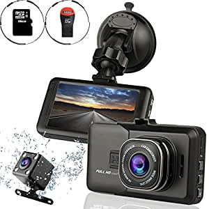 Ampulla Sentry HD Dash Cam Front and Rear Camera with Full HD1080 170 Degree Wide Angle (Included 16GB Micro SD Card)
