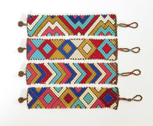 African Zulu beaded flat bracelet wide - Gold/pink/red/blues
