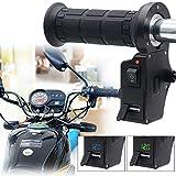 Elliot Jonah 1 Pair 12V Motorcycle Heated Grips,Universal Motorcycle ATV Handlebar Grips Heated/Voltmeter/USB Charger for Motorcycle/Bike/ATV