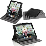 MoKo 360 Degree Rotating Detachable Cover Case with Stand for Apple New IPad 3 HD (3rd generation) / IPad 2, Black