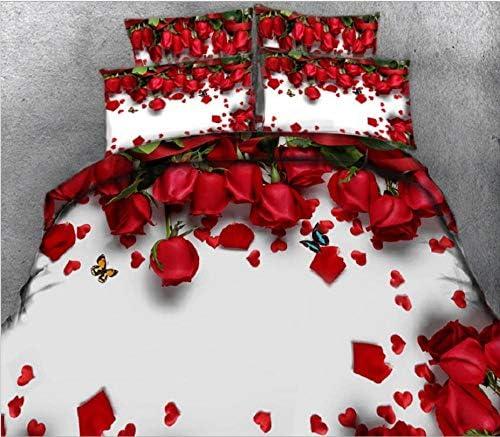 CHABED Parure De Lit 3 Pièces pour 2 Personnes Rose Rouge 3D Housse De Couette_220*240CM