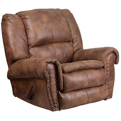 Flash Furniture Contemporary Breathable Comfort Padre Almond Fabric Rocker Recliner with Brass Accent Nails