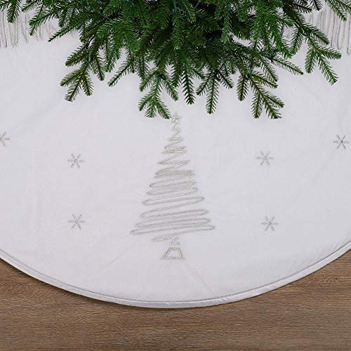 ExcMark 48 inch White Velvet Christmas Tree Skirt with Silver Embroidery Tree and Star