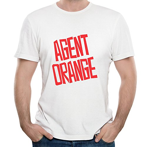 Fony Men's Agent Orange Rock Band Logo Mike Palm Adult Cool Shirts White L