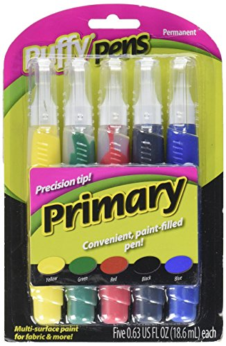 I Love To Create 26196 5-Piece Puffy Paint Pen Set, Primary (Puffy Paint Red)