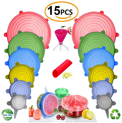 BUNDLE 15PCS - 13pcs Silicone Stretch Lids and 2 BONUS, Various Sizes and Shape of Containers,Reusable, Durable and Expandable Food Covers As Seen On TV,Keeping Food Fresh, Dishwasher and Freeze by FabQuality