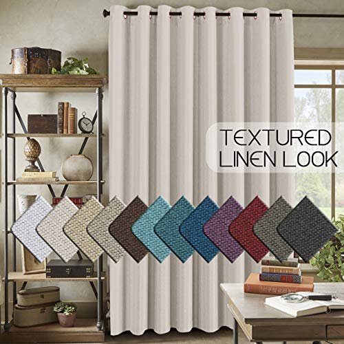 "H.VERSAILTEX Room Darkening Linen Curtain for Sliding Door (100"" W x 84"" L) Extra Wide Primitive Burlap Textured Linen Room Divider Curtain for Living Room/Patio (7ft Tall by 8.5ft Wide, Ivory)"