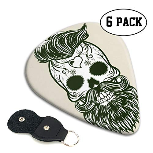 (Scary Halloween Under Cut Beard Death Skull Small Medium Large 0.46 0.71 0.96mm Mini Flex Assortment Celluloid Top Classic 351 Rock Electric Acoustic Guitar Pick Accessories Variety Pack Collectors)