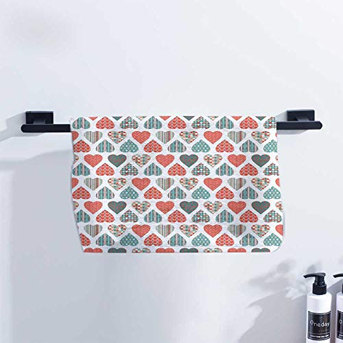 (Valentines Hand Towel Retro Up and Down Hearts with Stripes Waves and Checkered Patterns Love for Family Guest Bathrooms Gym W23 x L8 Teal Coral)