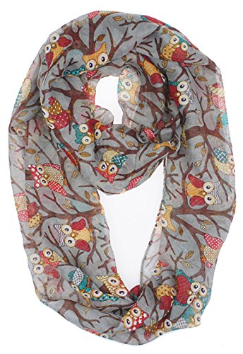 Vivian & Vincent Soft Light Weight Cartoon Owl Sheer Infinity Scarf Gray]()