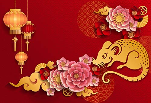 AOFOTO 7x5ft 2020 Happy New Year Backdrop Beautiful Chinese Paper-cuts Background Spring Festival Party Decoration Holiday Eve Celebration Flowers Lucky Cloud Red Lantern Year of The Rat Banner Props