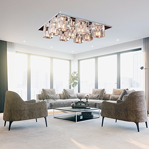 ... Flush Mount With 9 Lights In Square Shape, Modern Home Ceiling Light  Fixture Pendant Light Chandeliers Lighting For Study Room/Office, Living  Room