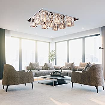 K9 Crystal Flush Mount With 9 Lights In Square Shape Modern Home Ceiling Light Fixture Pendant Chandeliers Lighting For Study Room Office Living