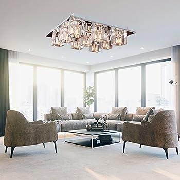lightinthebox k9 crystal flush mount with 9 lights in square shape modern home ceiling - Light Fixtures Living Room