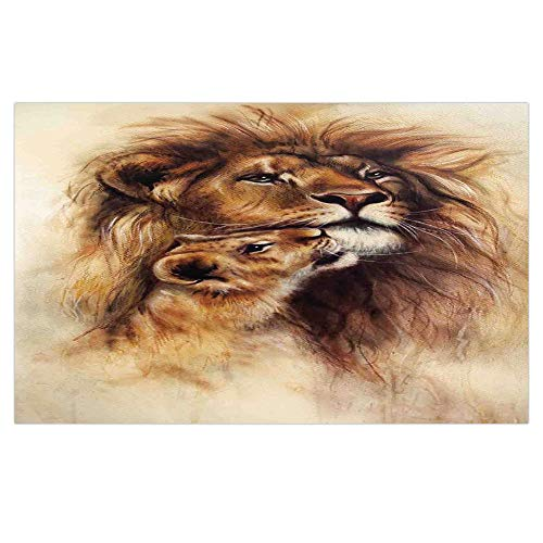iPrint 3D Floor/Wall Sticker Removable,Safari Decor,Painting of Loving Lion and her Baby Cub Snuggle Wildlife Nature Expression Safary Theme Image,for Living Room Bathroom Decoration,35.4x23.6