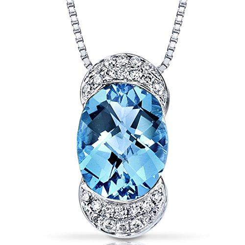 14 Karat White Gold Oval Cut 2.50 carats Swiss Blue Topaz Diamond Pendant ()