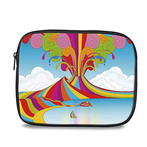 Volcano Durable iPad Bag,Skyline of Naples and Vesuvio in Rainbow Eruption Themed Artistic Illustration Decorative for iPad,10.6