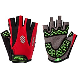 VEBE Men's Half Finger Anti-slip Biking Gloves Cycling Riding For Cross-country Road Sports,Color red,Palm Width about 9-10 CM