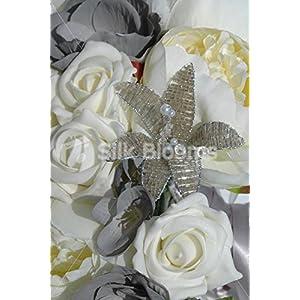 Ivory & Grey Teardrop Bridal Bouquet w/ Roses Peonies & Anemones 2