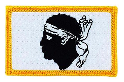 Toppa ricamata termoadesiva, motivo: stemma della Corsica, teste di Moro Akacha