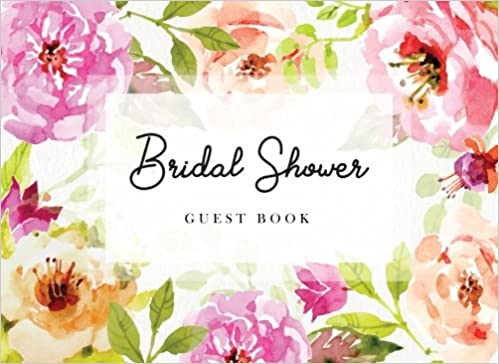 Bridal Shower Guest Book Pretty Watercolor Flowers Gift Log Sign