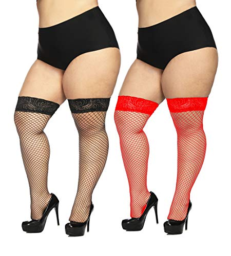 CURRMIEGO Women's Fishnet Thigh Highs Plus Size Stay-up Stocking with Lace top (2 Pairs, Plus Size)...]()