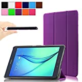 Infiland Samsung Galaxy Tab A 9.7 case, Ultra Slim Tri-Fold Case Smart cover for Samsung Galaxy Tab A 9.7-Inch SM-T550 Tablet With Auto Wake/Sleep Feature (Tab A 9.7, Purple)