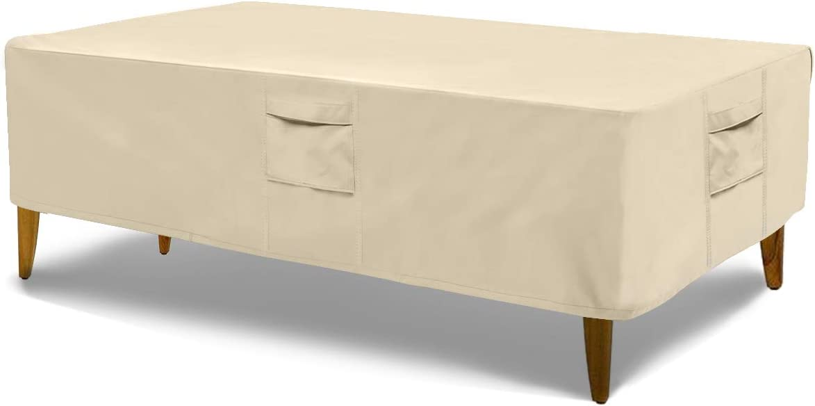 Honest Outfitters Rectangular Patio Table Cover,Water Resistant and Heavy Duty Outdoor Lawn Patio Furniture Covers(Beige,85.5