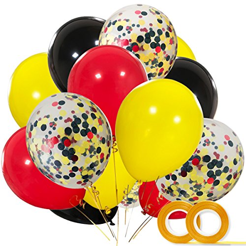 Mickey Color Balloons 40 Pack, 12 Inch Red Black Yellow Latex Balloons with Confetti Balloon for Baby Shower Birthday Party Decorations Supplies with Ribbon -