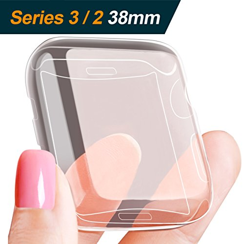 [2Pack] LELONG for Apple Watch Screen Protector and Case 38mm, One Soft TPU all-around Clear Cover and One Protective Bumper iWatch Case Both for Apple Watch Case Series 3, Series 2