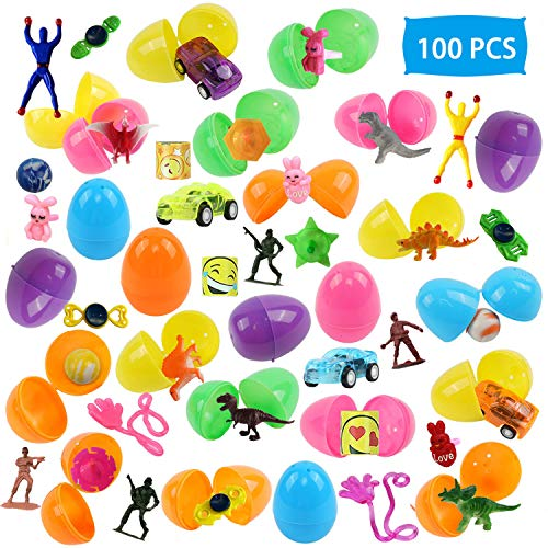 """100 Pcs Toy Filled Easter Eggs, 2.3"""" Assorted Colorful Prefilled Plastic Surprise Eggs with Novelty Toys for Easter Theme Party Favor, Easter Eggs Hunt Fillers, Easter Basket Stuffers, Classroom Prize Supplies"""