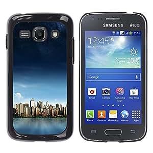 KLONGSHOP // Cubierta de piel con cierre a presión Shell trasero duro de goma Protección Caso - Manhattan Paisaje - Samsung Galaxy Ace 3 //