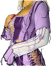 Vrouwen Y2k Shirt Lange Mouw Crop Top E Meisje Kleding Grafische Print T Shirts Patchwork Casual Tops Herfst Winter Blouses, Paars, S