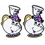 New Horizons Production Beauty & The Beast Tea Cup Tea Pot Metal Enamel Stud Earrings W/Gift Bag