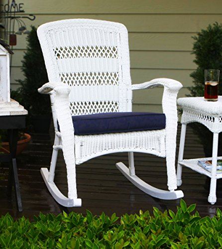 Tortuga Outdoor Portside Plantation Rocking Chair, White Coastal (Wicker Chair Rocking White)