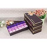 FunRun FunRun 18 Pezzi profumato per il bagno petali rosa, Creativo regalo Fiore del sapone artificiali Rose fiori di sapone per la festa di compleanno San Valentino(Porpora)