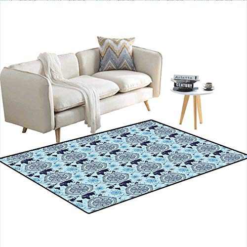 Rug,World Map Pattern Vintage Inspirations Arrows and Windrose Continents Grunge,Area Carpet,Pale Blue Indigo 48