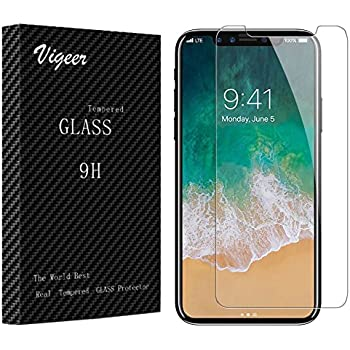Vigeer KKA110201 0.3 mm Bubble-Free, 9H Hardness, Easy Installation, HD Clear Tempered Glass Screen Protector for iPhone X/10