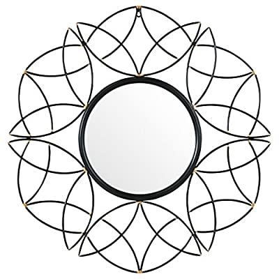 """Rivet Modern Metal Floral Pattern Round Mirror, 30.5""""H, Black - Swooping metal curves suggest patterns of flowers and leaves. The black metal finish, accented with gold tips, allows this mirror to blend with classic and modern styles. It will add a graceful touch to any mantel, or in a bedroom or hallway. Modern shapes with classic gold accents Glass, iron frame with black and gold finish - bathroom-mirrors, bathroom-accessories, bathroom - 51chvFTzYFL. SS400  -"""