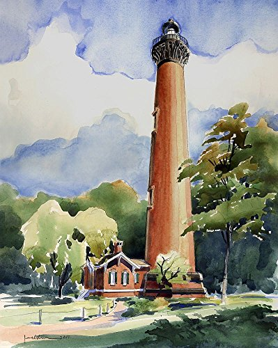 - Currituck Beach Lighthouse, Corolla, Outer Banks, North Carolina, by James Mann. Matted Watercolor Art Prints (8x10)