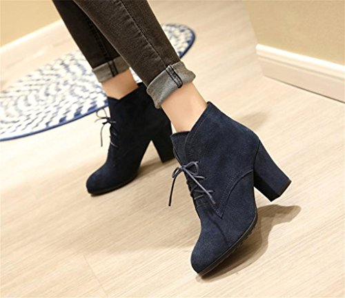 Bottes Blue Talons Élégantes Lacets Bottes de Chaussures HETAO Hauts personnalité à Chaussures Talons de à C4qwt6v