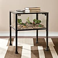 Side / End Table Transitional Black Square Display Terrarium (OS2688) - 24 in. H x 21 in. W x 21 in. L