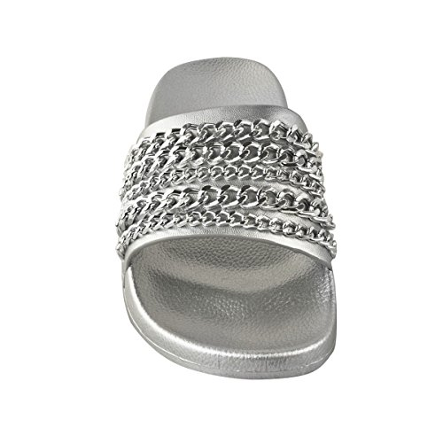 Fashion Thirsty Womens Chain Summer Sliders Sandals Tropiconic Slides Beach Slip On Size Silver Metallic sqeS0